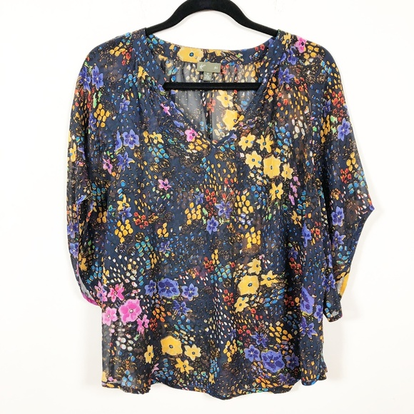 a826d726bf343 Anthropologie Tops   Anthro Fei 100 Silk Sheer Floral Blouse 8 ...